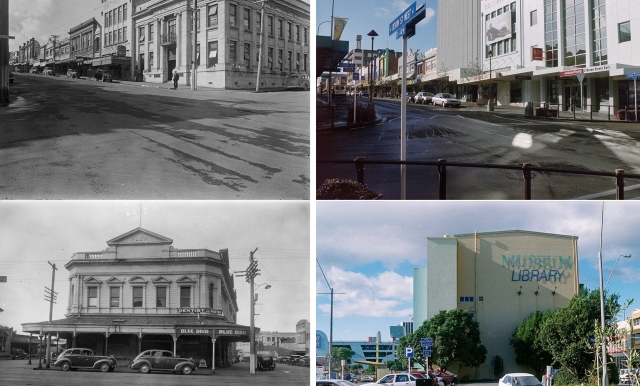 Look back to the future: The corner of Currie Street and Devon Street East/West and (bottom) Ariki Street/Egmont Street from 1939 and 1999. Images on loan from Bob Murray private collection.